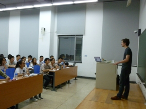 John Sadek, leads a lecture